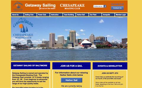 Screenshot of Home Page getawaysailing.com - Getaway Sailing Baltimore MD - captured Sept. 29, 2014