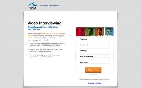 Screenshot of Landing Page asyncinterview.com - Video Interviewing, Video Interviews, Video Interview - captured Oct. 27, 2014
