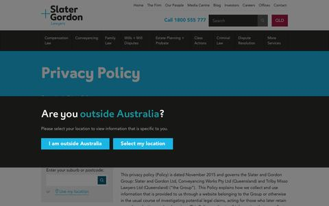 Privacy Policy | Slater and Gordon