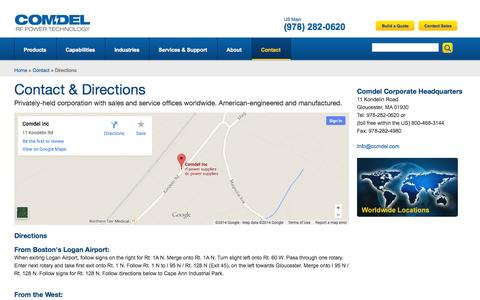 Screenshot of Contact Page Maps & Directions Page comdel.com - Contact & Directions | comdel.com - captured Oct. 22, 2014