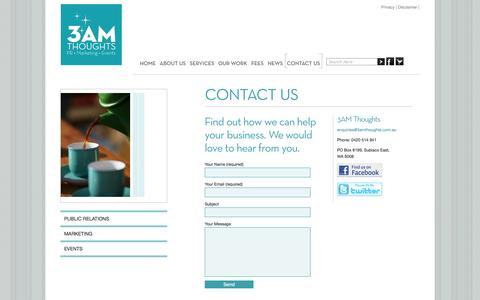 Screenshot of Contact Page 3amthoughts.com.au - Free consultation and appraisal of your Public Relations, Events Management, and Marketing needs -  Based in Perth, Western Australia - captured Oct. 7, 2014