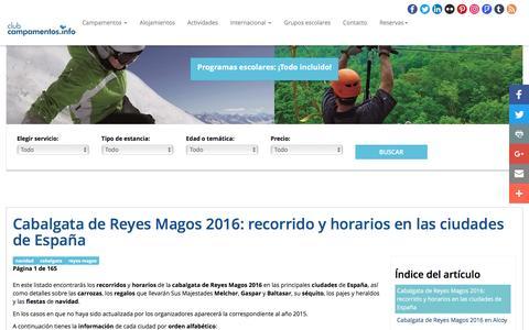 Screenshot of campamentos.info - Cabalgata de Reyes Magos 2016: recorrido y horarios en las ciudades de España - captured Sept. 25, 2016
