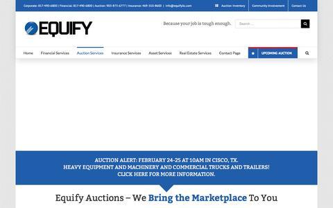 Screenshot of equifyllc.com - Equify, LLC -   Equify Auctions - captured Jan. 30, 2016