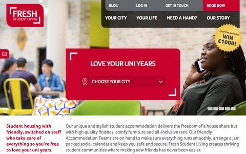 Screenshot of Home Page freshstudentliving.co.uk - UK Student Accommodation, Rooms and Housing   Fresh Student Living - captured June 6, 2017