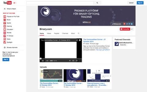 Screenshot of YouTube Page youtube.com - Binary.com  - YouTube - captured Oct. 22, 2014