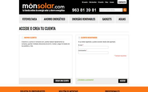 Screenshot of Login Page monsolar.com - Acceso del cliente - captured Oct. 3, 2014
