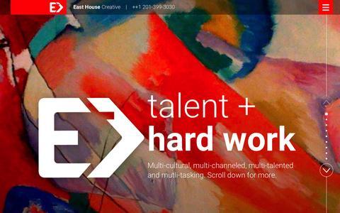 Screenshot of Home Page east-house.com - East House Creative - captured Jan. 24, 2016