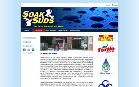 Screenshot of Products Page soaknsuds.com - Soak-N-Suds :: 24 Hr Touchfree Automatic Car Wash - captured Oct. 1, 2014