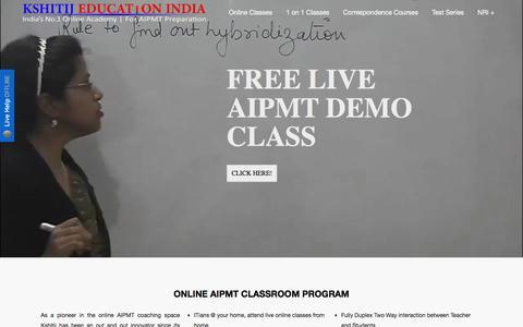 Screenshot of Home Page kshitij-pmt.com - Online PMT Coaching Classes | AIPMT Coaching - captured Jan. 15, 2016