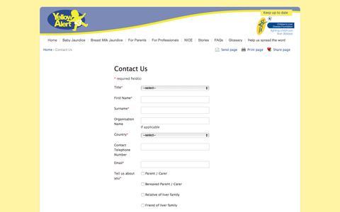 Screenshot of Contact Page yellowalert.org - Yellow Alert - captured April 12, 2017