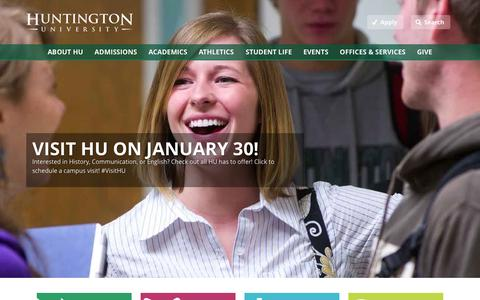 Screenshot of Home Page huntington.edu - Huntington University - captured Jan. 23, 2015