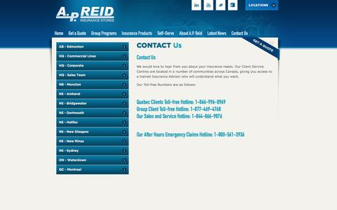 Screenshot of Contact Page Locations Page apreid.com - A.P. Reid Insurance – Your place for car, home and business insurance | A.P. Reid Insurance Stores - captured Sept. 24, 2016