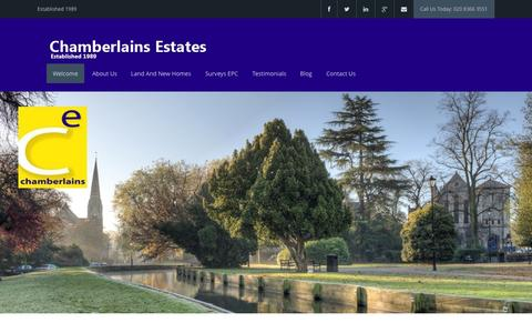 Screenshot of Home Page chamberlainsestates.com - Welcome - Chamberlains Estates - captured Sept. 29, 2014