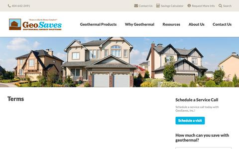 Screenshot of Terms Page geosaves.com - Terms | GeoSaves, Inc. - captured Sept. 27, 2018