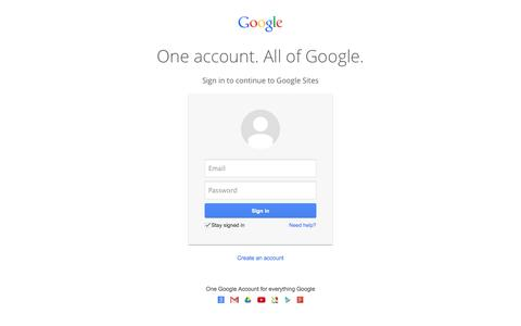 Screenshot of Login Page google.com - Google Sites - captured Oct. 10, 2014