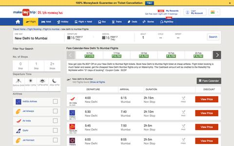97 Flights New Delhi to Mumbai Fares @Rs.2035+Cashback | MakeMyTrip®