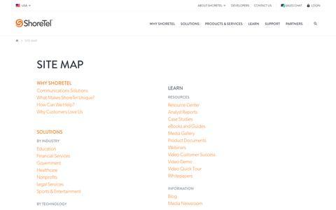 Screenshot of Site Map Page shoretel.com - Site Map   ShoreTel - captured Feb. 15, 2017
