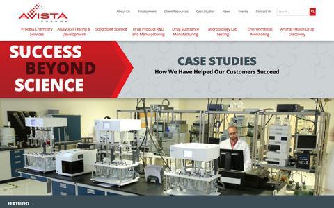 Screenshot of Case Studies Page avistapharma.com - Case Studies | Success Beyond Science - captured July 10, 2018