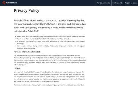 Screenshot of Privacy Page publicstuff.com - PublicStuff - captured Feb. 27, 2016