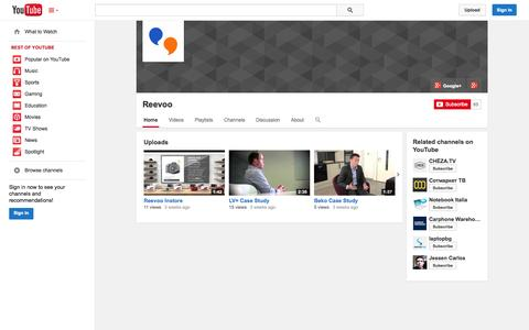 Screenshot of YouTube Page youtube.com - Reevoo  - YouTube - captured Oct. 22, 2014