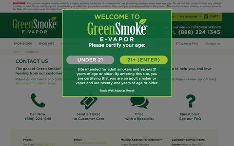 Screenshot of Contact Page greensmoke.com - Contact Us - captured Aug. 22, 2016