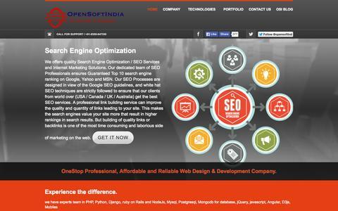 Screenshot of Home Page opensoftindia.com - Open Soft India Pvt. Ltd, a web development company - captured Aug. 16, 2015