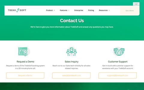 Screenshot of Contact Page trekksoft.com - Contact us! Request a demo or contact our support team at TrekkSoft. - captured Oct. 6, 2019