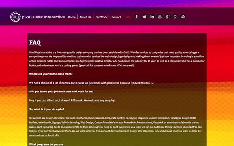 Screenshot of FAQ Page pixelwebs.co.za - PixelWebs Interactive - FAQ - captured Oct. 2, 2014