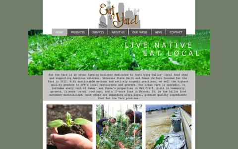 Screenshot of Home Page eattheyard.net - Local Organic Produce, dallas, oak cliff, texas - captured Sept. 8, 2015