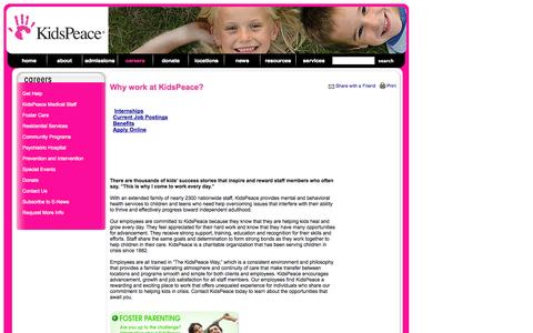 Screenshot of Jobs Page kidspeace.org - Careers - captured Sept. 30, 2014