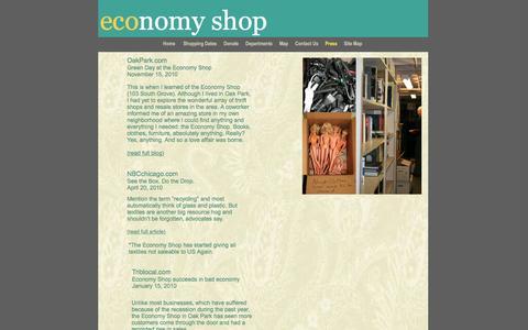 Screenshot of Press Page economyshop.org - press - captured Jan. 26, 2016