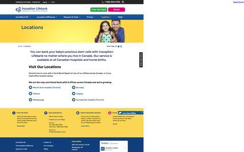 Screenshot of Locations Page insception.com - Insception Lifebank Offices Across Canada | Insception Lifebank - captured Nov. 26, 2016