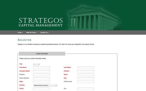 Screenshot of Signup Page strategoscm.com - Strategos Capital Management - captured Nov. 5, 2014