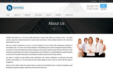 Screenshot of About Page hmmbiz.com - Web Development Company In Ahmedabad - captured Nov. 9, 2016