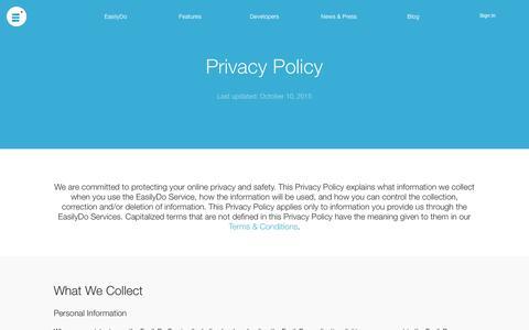 Screenshot of Privacy Page easilydo.com - EasilyDo | Privacy Policy - captured Nov. 18, 2015