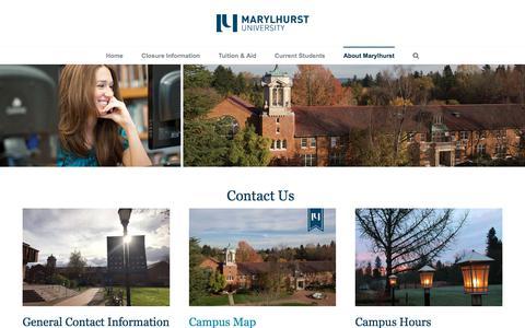 Screenshot of Contact Page marylhurst.edu - Contact Us Today - Marylhurst University - captured May 20, 2018