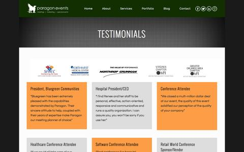 Screenshot of Testimonials Page paragon-events.com - Paragon Events |   Testimonials - captured Nov. 1, 2014