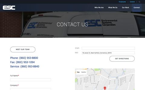 Screenshot of Contact Page esccontrols.com - Get In Touch With Us | Environmental Systems Corporation - captured Nov. 9, 2016