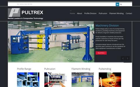 Screenshot of Home Page pultrex.com - Pultrusion Machines, High Quality Pultrusion Machinery for Sale| Pultrex - captured Oct. 3, 2014