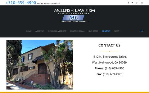 Screenshot of Contact Page mcelfishlaw.com - Contact – McElfish Law - captured Nov. 15, 2018