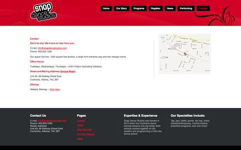 Screenshot of Contact Page snapdancestudios.com - Contact Snap | Dance School | Snap Dance Studios | Cochrane AB - captured Oct. 29, 2014