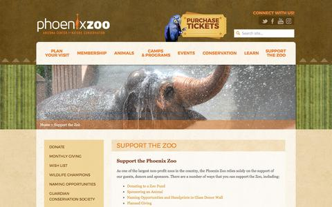 Screenshot of Support Page phoenixzoo.org - Support the Zoo - Phoenix Zoo - captured April 15, 2017