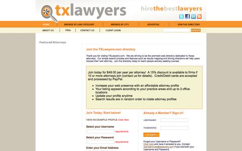 Screenshot of Signup Page txlawyers.com - Join Texas Lawyer Directory | TXLawyers.com - captured Dec. 19, 2016