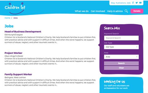 Screenshot of Jobs Page children1st.org.uk - Jobs | Children 1st - captured May 12, 2017