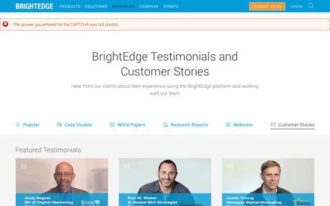 Screenshot of Testimonials Page brightedge.com - BrightEdge SEO Testimonials and Customer Stories - captured Jan. 1, 2020