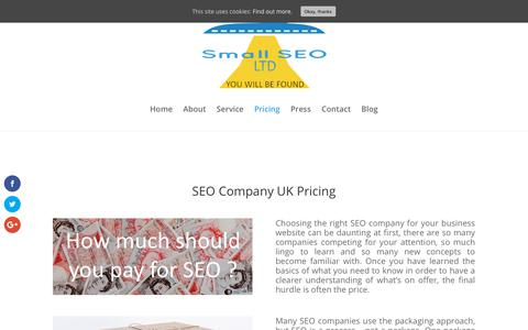 Screenshot of Pricing Page smallseo.co.uk - SEO Company|SEO Company UK|Small SEO - captured Feb. 4, 2018