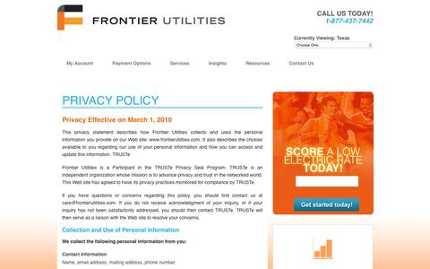Screenshot of Privacy Page frontierutilities.com - PRIVACY POLICY - captured Jan. 8, 2016