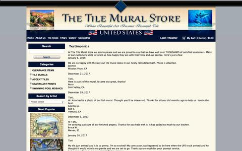 Screenshot of Testimonials Page tilemuralstore.com - Testimonials - Tile Mural Store - captured Oct. 20, 2018