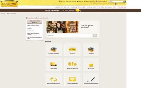 Screenshot of FAQ Page Support Page loccitane.com - L'OCCITANE en Provence | United States - captured Oct. 22, 2014