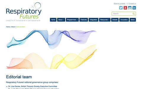 Screenshot of Team Page respiratoryfutures.org.uk - Editorial team   Respiratory Futures - working together for better lung health - captured Oct. 23, 2018